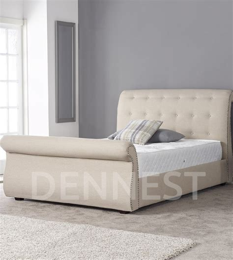 Chesterfield Sleigh Bed Crushed Velvet Fabric Upholstered Chesterfield Sleigh Bed Frame Oxonra