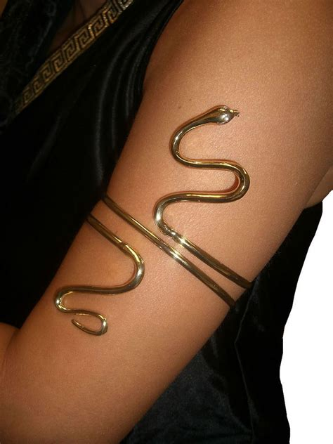 snake arm tattoo gold metal asp snake arm band cleopatra