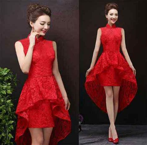Mch Brukat Dress Merah Dress Natal baju gaun dress shanghai brukat merah cantik murah