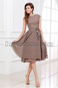 brown tea length short mother of groom dress with short sleeves 1st dress com
