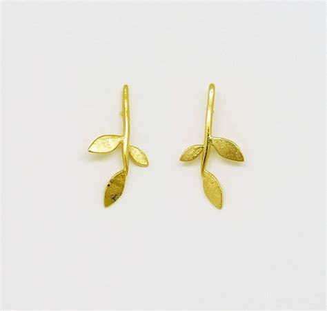 Leaf Stud Earrings gold plate lola leaf stud earrings by blossoming branch