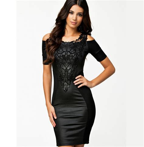 Lace Bodycon Dress Original bodycon faux leather lace dress 133137