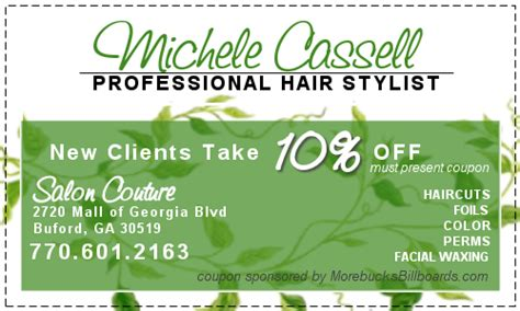 haircut coupons kennesaw michele cassell hair stylist morebucks billboards