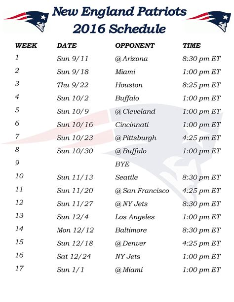 printable schedule for new england patriots printable 2016 new england patriots schedule draft news