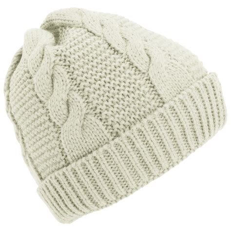 womens cable knit hat womens cable knit fleece lined winter beanie hat ebay