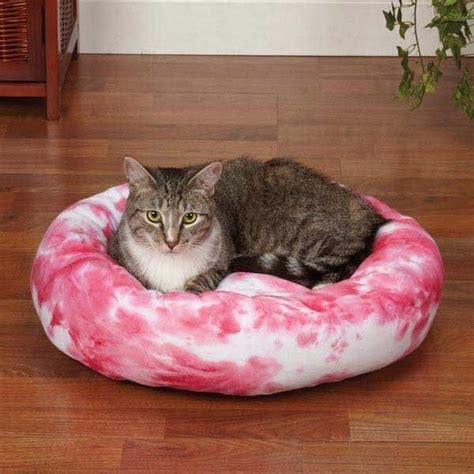 kitten beds slumber pet cozy kitty plush donut tie dye cat bed pink ebay