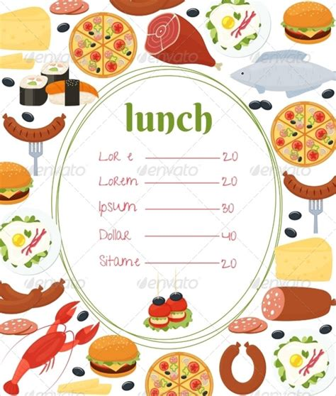 school lunch menu template free lunch menu templates 34 free word pdf psd eps