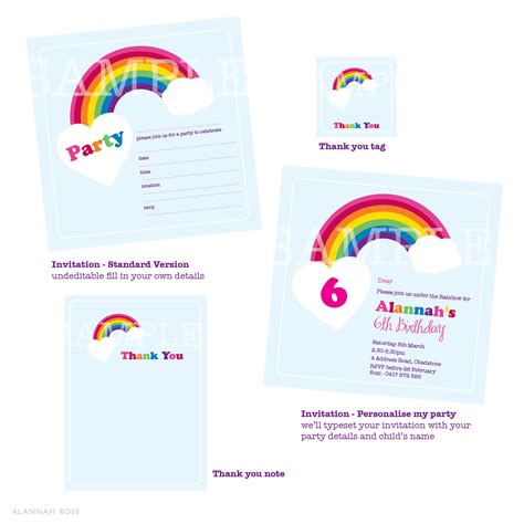 printable rainbow stationery alannah rose wedding invitations stationery shop
