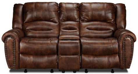reclining loveseat with console microfiber microfiber reclining sofa with console chocolate brown
