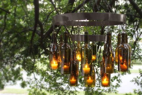 How To Make A Glass Bottle Chandelier Unique Chandeliers Made Out Of Recycled Wine Bottles