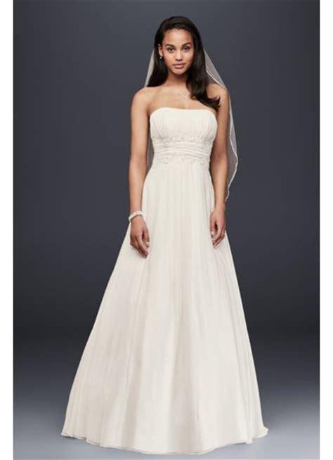 chiffon wedding dress  beaded lace waist davids bridal