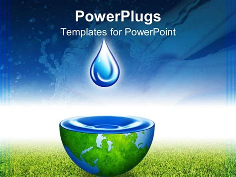 Powerpoint Template Water Drop Above Half Globe Holding Save Water Powerpoint Presentation Free