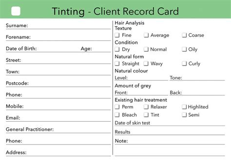 Hair Salon Client Consultation Card Template by Tinting Client Card Clients Record Salons