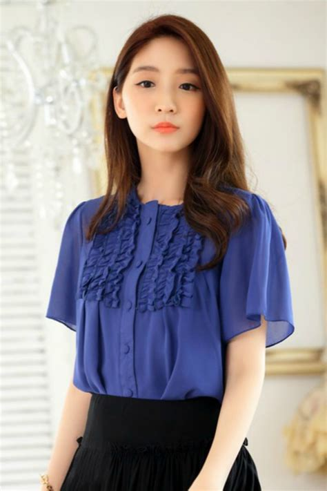 High Quality Ruffle Blouse Tmc2841 Black Import Korea blouse korea baju kerja wanita korea busana kerja