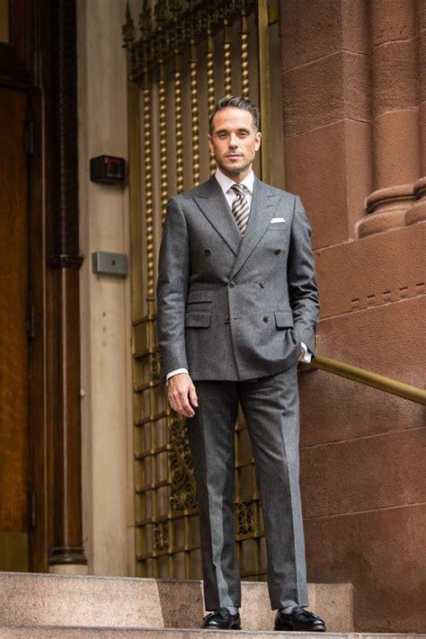 business  dark grey flannel suit  spoke style