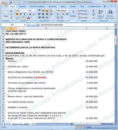 calculo de la renta presuntiva en excel 187 renta presuntiva