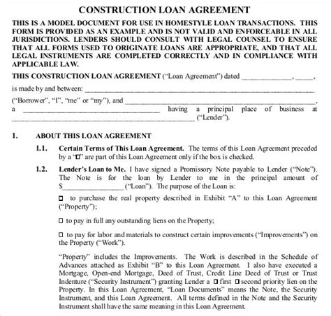 28 Loan Contract Templates Pages Word Docs Free Premium Templates Construction Contract Template Pdf
