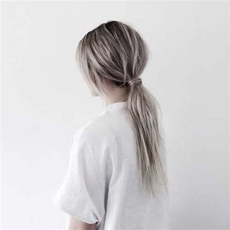 Silver Ponytail   20 best silver gray hair long hairstyles 2016 2017