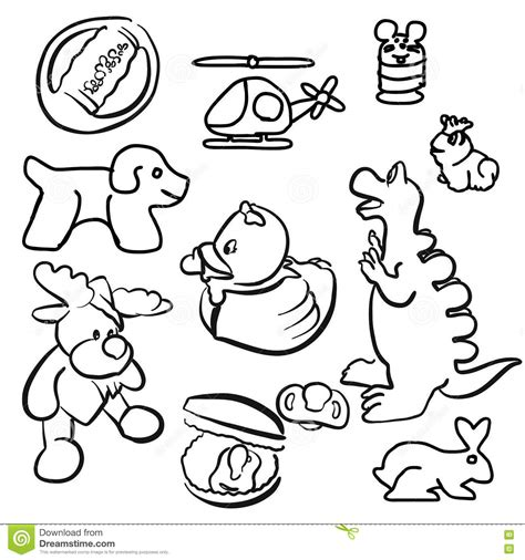 doodle 4 outline baby toys outline sketched doodles stock vector