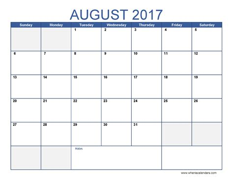 August 2017 Calendar Template Printable 2017 Calendars Free Photo Calendar Template 2017