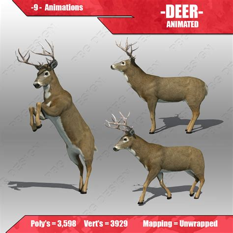 animated deer deer animated 3d model ready animated rigged max