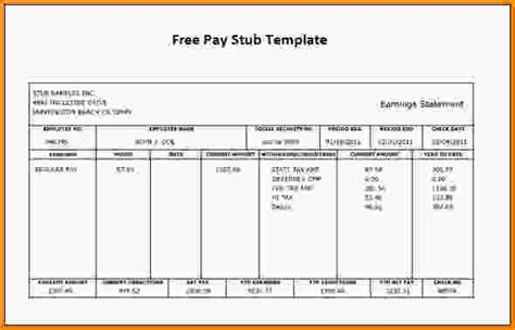 template for payroll check stub free printable check stubs template business