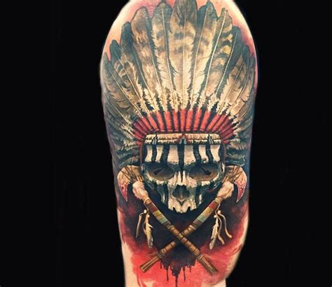 butcher tattoo designs indian skull by steve butcher tattos and