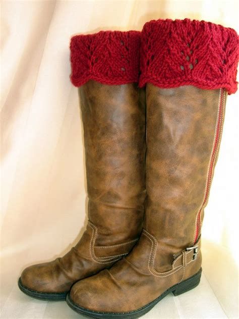knitted boot toppers boot toppers claret scalloped feather lace