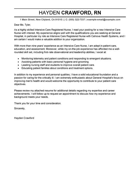 leading professional intensive care nurse cover letter