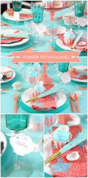 Summer Entertaining: Beachy Aqua   Coral Tablescape