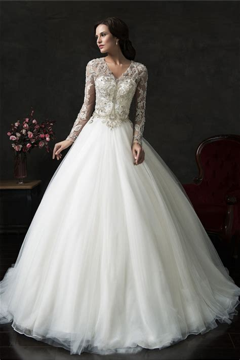 sleeve wedding gown gown v neck tulle lace sleeve wedding dress with