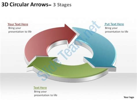 3d Circular Arrows Process Smartart 3 Stages Ppt Slides Diagrams Templates Powerpoint Info Graphics Ppt Smartart Templates