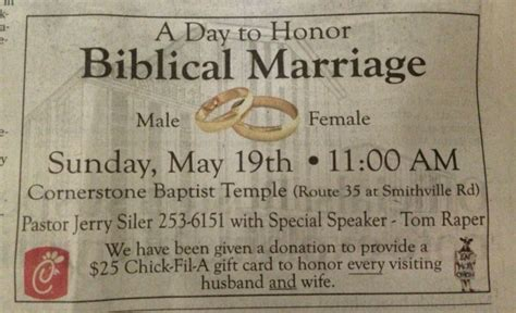 Chick Fil A Gift Card Promotion - pro traditional marriage event at ohio church offers chick fil a gift cards angers