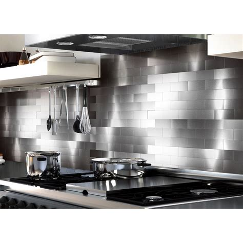 Aluminum Kitchen Backsplash Peel And Stick Backsplash Tiles For Kitchen 3 Quot X 6 Quot Brushed Aluminum Mosaic
