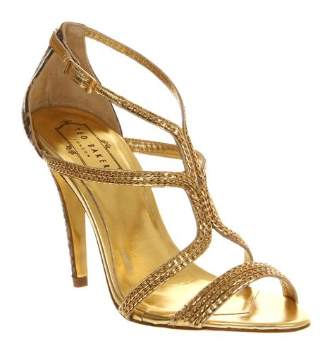 gold sandals high heels ted baker tilbey high heel sandal in gold snake lyst