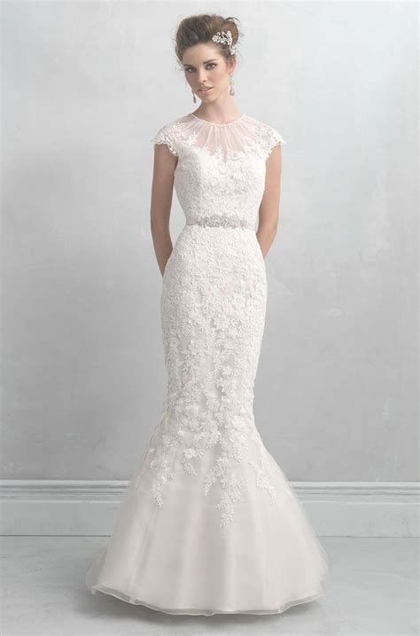wedding dresses with sleeves illusion neckline wedding