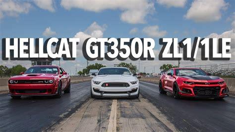 gt350r vs zl1 1le zl1 1le camaro hellcat widebody gt350r mustang