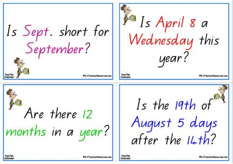 Calendar Questions Yes Or No Calendar Questions
