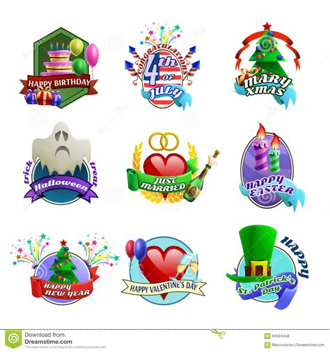 holidays and celebrations holidays celebrations emblems collection stock vector
