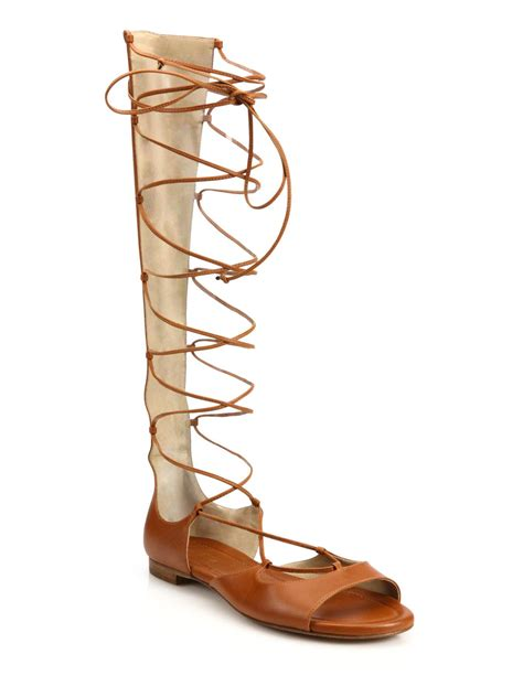 brown lace up sandals michael kors birdie leather lace up gladiator sandals in