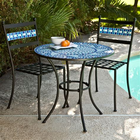 bistro table chairs outdoor bistro set patio table chairs mosaic tile garden deck