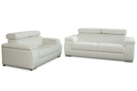 white bonded leather modern coco sofa loveseat 2pc set