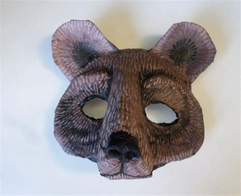 Handmade Animal Masks - mask black grizzly brown