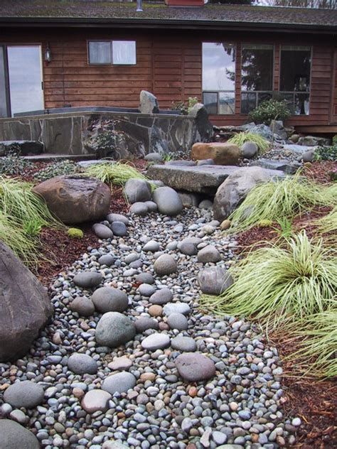 dry river bed landscape seasonal stream bed eclectic landscape seattle by