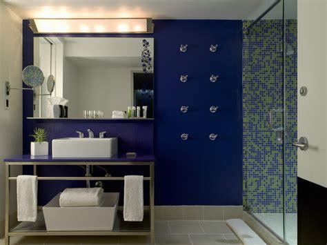 blue modern bathrooms lonny