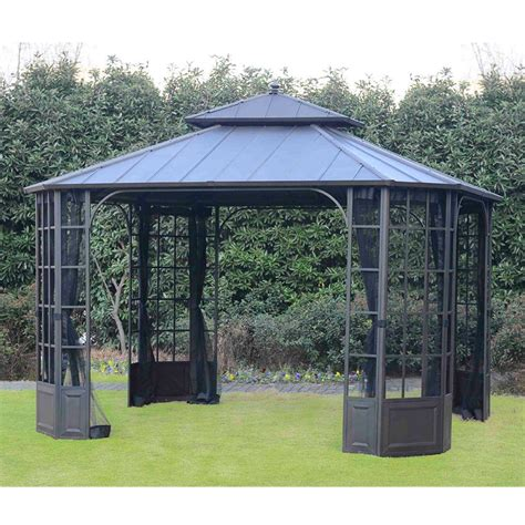 gazebo shop hton bay 12 ft x 10 ft bay window top gazebo