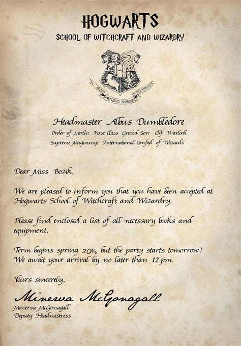 Harry Potter Acceptance Letter Font Generator acceptance letter book club bashes