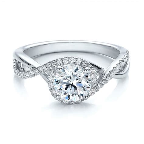 contemporary halo and split shank engagement ring
