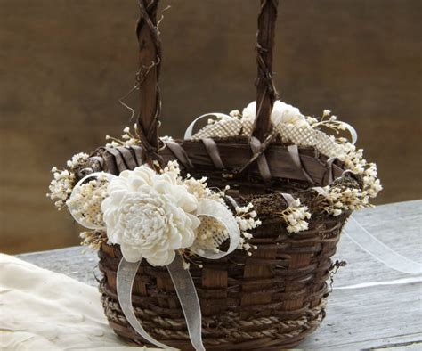 Flower Wedding Baskets by Rustic Flower Basket Sola Flowers With Burlap Twig