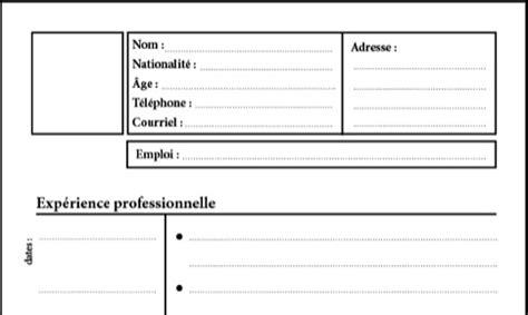 Modèle Gratuit De Cv by Resume Format Modele De Cv Vierge A Imprimer